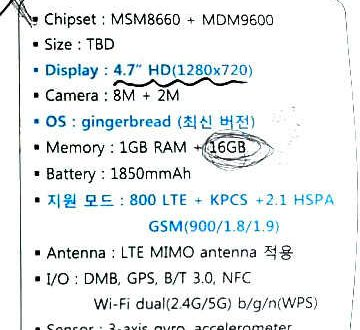 Specifiche tecniche del Samsung SHV-E120L