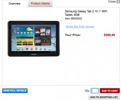 Samsung Galaxy Tab 2 10.1 a 399$